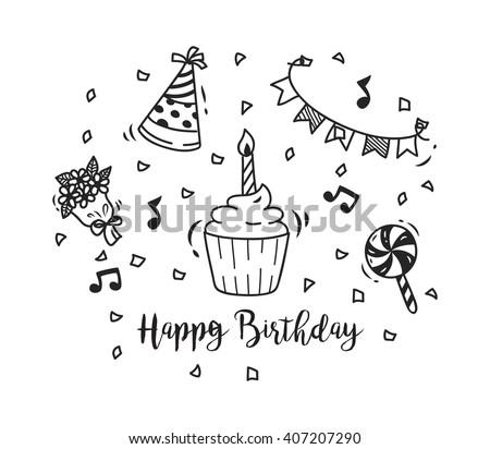 birthday doodle - stock vector
