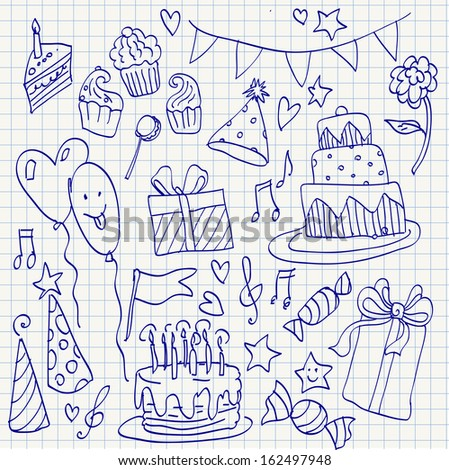 Birthday doodle sketchy vector illustration set,  hand drawn icon