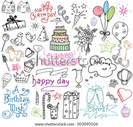 Birthday Elements Hand Drawn Set Birthday Stock Vector 303090506