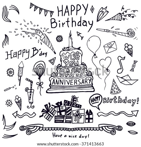 Birthday elements. Hand drawn set with birthday cake, balloons, gift and festive attributes. Children drawing doodle collection.