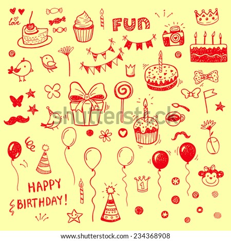 Birthday elements. Hand drawn set with birthday cakes, baloons, gift and festive attributes. - stock vector