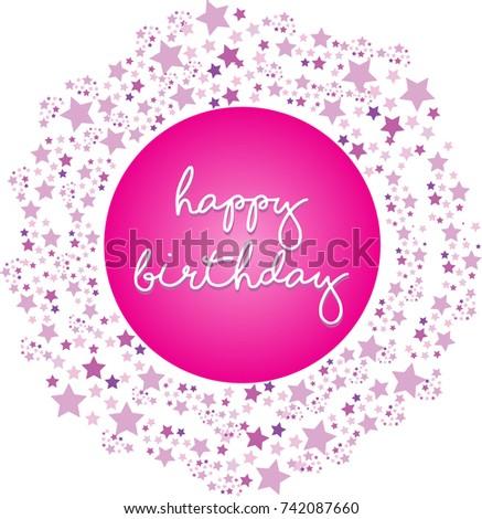 Birthday Frame Design Pink Stars Frame Stock Photo (Photo, Vector ...