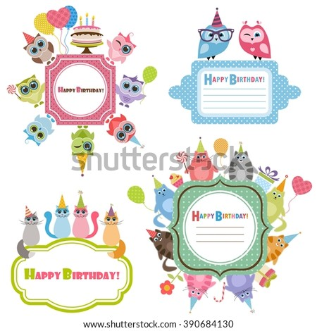 Birthday frames with owls and cats - stock vector
