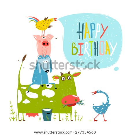 Birthday Fun Cartoon Farm Animals Pyramid Greeting Card. Countryside humor animals illustration for children with lettering happy birthday. Vector EPS10. - stock vector