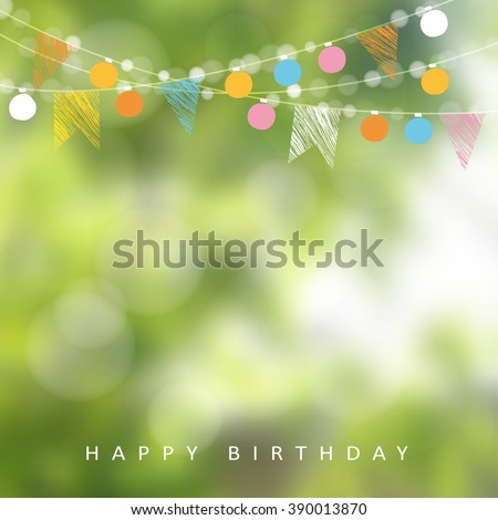 Birthday garden party. Brazilian june party. Festa junina. Vector illustration with garland of lights, party flags. Summer blurred background. Holiday web banner. - stock vector