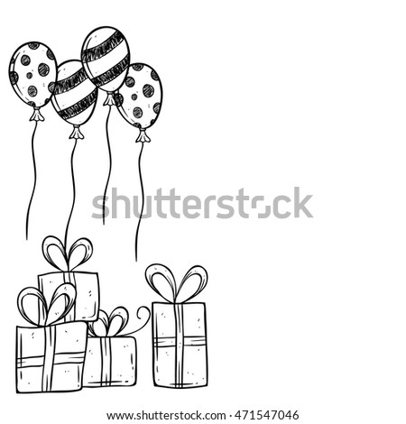 Birthday gift balloon using hand drawing stock vector 2018 birthday gift and balloon using hand drawing or doodle art negle Gallery
