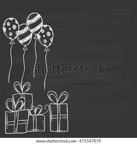 Birthday gift balloon using hand drawing stock vector hd royalty birthday gift and balloon using hand drawing or doodle art on chalkboard background negle Gallery