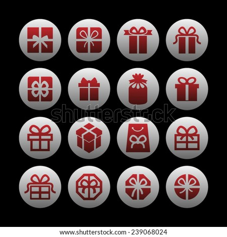 Birthday gift icons - stock vector