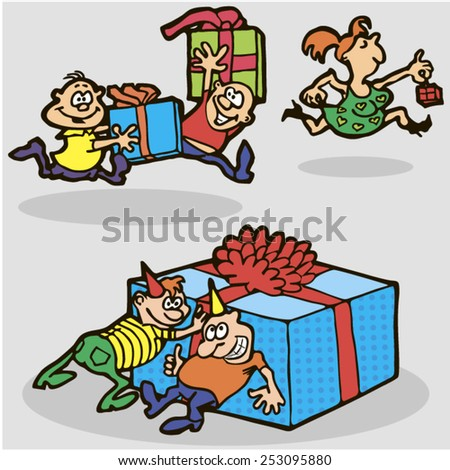 Birthday gifts. Vector. 1. Friends hurry to give gifts. Vector illustration. - stock vector