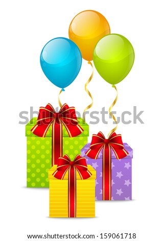 Birthday gifts with color balloons - stock vector
