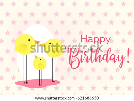 Birthday greeting card drawing family birds stock vector hd royalty birthday greeting card drawing with the family of birds for baby frame vector illustration m4hsunfo