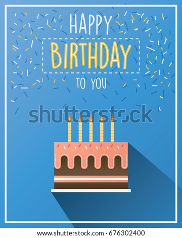 birthday greeting card with birthday cake vector flat