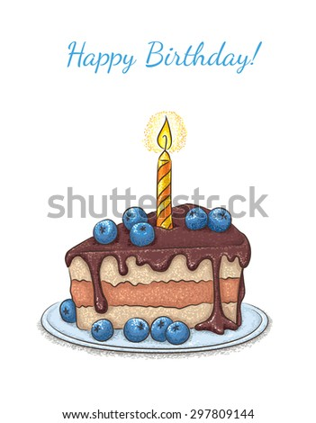 Birthday greeting card with cake.