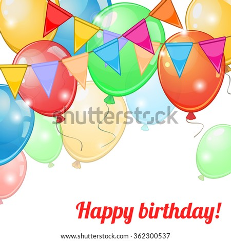 Birthday greeting card with colorful balloons and buntings