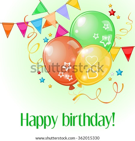 Birthday greeting card with colorful balloons and buntings over light green - stock vector