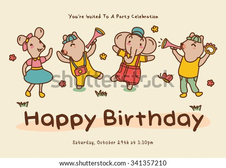 Birthday greeting card with cute cartoon animals - stock vector