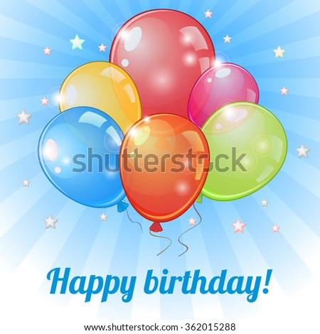 Birthday greeting card with group of colorful balloons over blue
