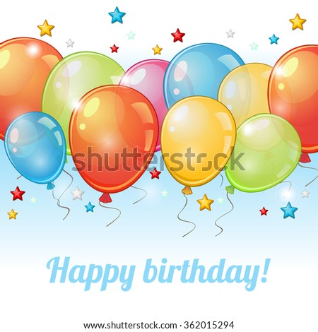 Birthday greeting card with horizontal row of colorful balloons  - stock vector