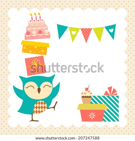 Birthday greeting card with place for your text. - stock vector
