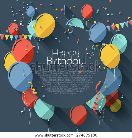 Birthday greeting card with place for your text - flat design style - stock vector
