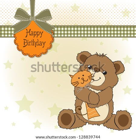 birthday greeting card with teddy bear and his toy, vector illustration
