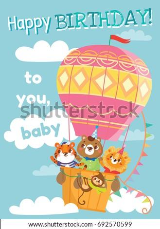 Birthday greeting cards cute animals funny stock vector royalty birthday greeting cards with cute animals funny animals on hot air balloon vector illustration m4hsunfo