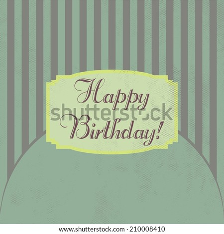 birthday greeting retro design card - stock vector