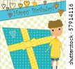 Birthday Greeting with Boy and Gift - stock vector