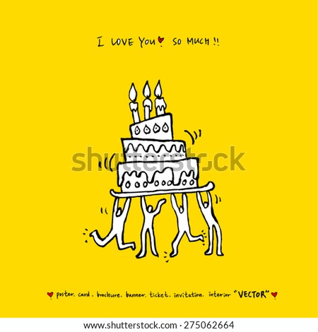 birthday / Hand drawn illustration - vector - stock vector