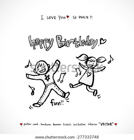 birthday / Hand drawn illustrations - vector - stock vector