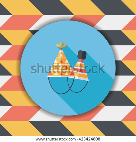 Birthday hat flat icon with long shadow,eps10 - stock vector