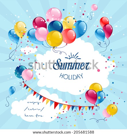 Birthday holiday balloons in blue sky with place for text - stock vector