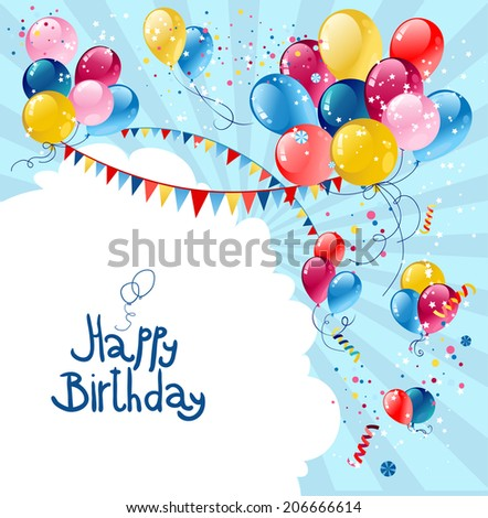 Birthday holiday balloons in blue sky with place for text. - stock vector