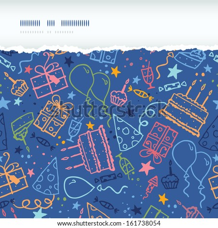 Birthday horizontal torn seamless pattern background - stock vector