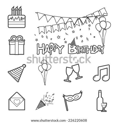 birthday icon - stock vector