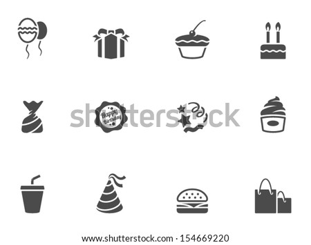 Birthday icons in black & white - stock vector