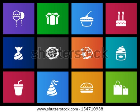 Birthday icons in Metro style - stock vector