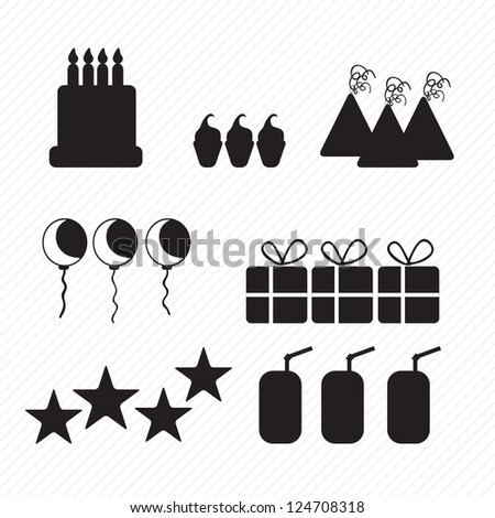Birthday icons silhouettes, cake, cupcakes, and hats. Vector illustration - stock vector