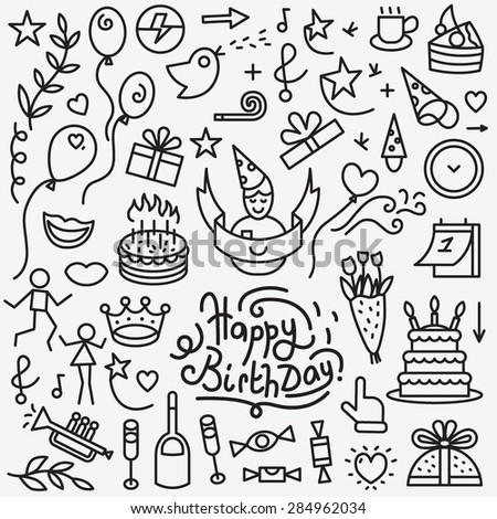 birthday icons , thin line design elements - stock vector