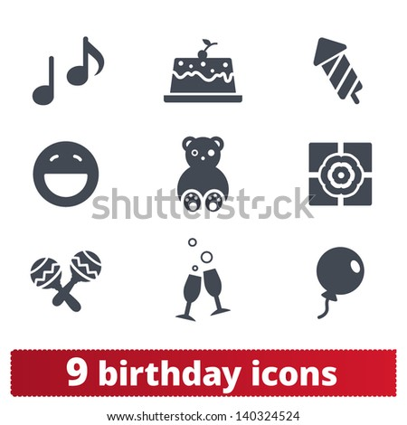 Birthday icons: vector set of family feast signs. - stock vector