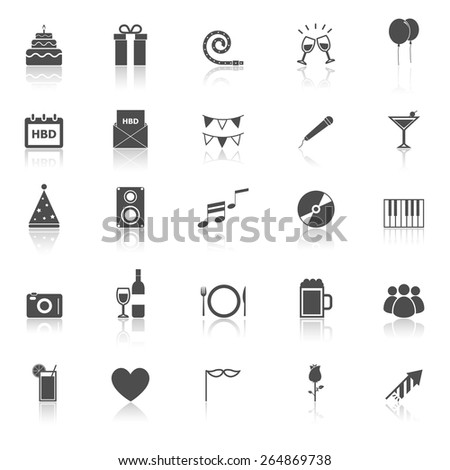 Birthday icons with reflect on white background, stock vector - stock vector