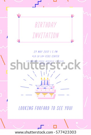 Birthday Invitation Card On Geometric Background With Colorful Shapes And  Forms. Vector Graphics.  Invitation Forms