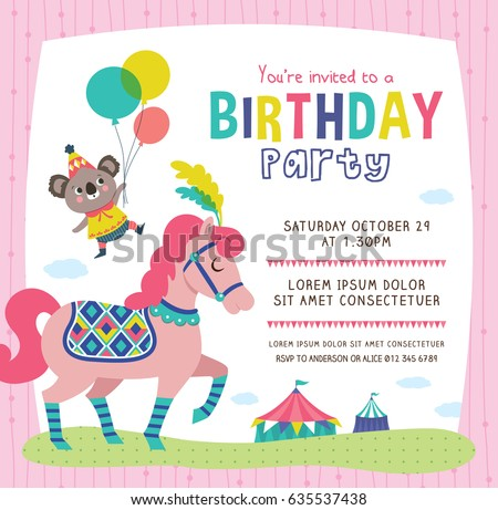 Birthday Invitation Card With Cute Little Koala And Horse  Birthday Invitation Pictures