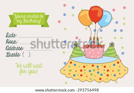 birthday invitation design, vector illustration eps10 graphic