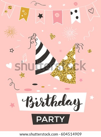 Birthday invitation template party hats greeting stock vector birthday invitation template with party hats greeting card vector illustration stopboris Image collections
