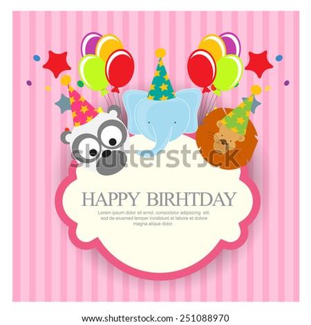 Birthday invitation with cute animals - stock vector