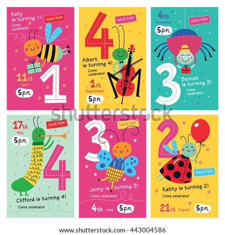 Birthday invitations collection posters invitation cards stock birthday invitations collection of posters and invitation cards with cute insects for kidsctor stopboris Image collections