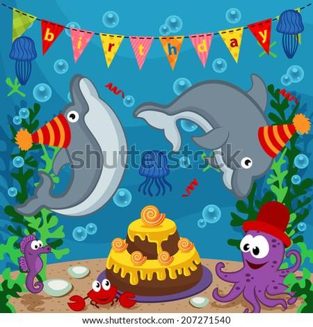 birthday marine animals - vector  illustration, eps  - stock vector