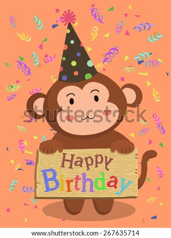 Birthday Monkey Cartoon. A monkey with party hat holding birthday greeting board in red confetti background. - stock vector