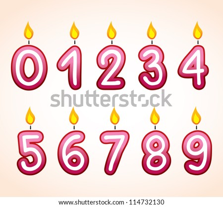 Birthday number candle set - stock vector
